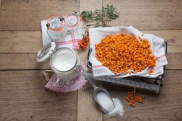 Ingredients for sea buckthorn jam
