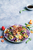 Sweet and sour crunchy pork salad with Cabbage