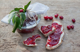 Homemade cornelian jam and jam bread