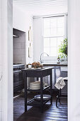 Glance into the kitchen with a rustic kitchen island