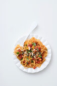 Tagliolini with chicken and vegetable ragout