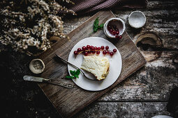 Cheese cake served on plates