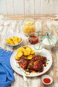 BBQ chicken thights, potatoes and tzatziki