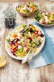 Pasta, mozzarella and tomato salad