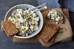 Herring, egg and red kidney bean salad