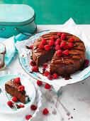 Chocolate Dessert Cake with Raspberries