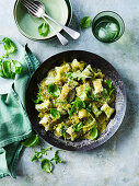Pan-fried Gnocci with Green Tomato Sugo