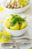 Parsley potatoes with rape seed oil