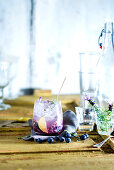 Vodka Soda with blueberries and lavender