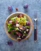 An autumnal salad with damsons, beef fillet and macadamia nuts