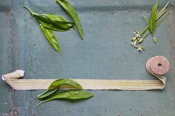 Fresh wild garlic with a ribbon roll