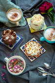 Various desserts and cappuccino