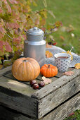 Old wine crate decorated for autumn with pumpkins, milk churn and cup of tea