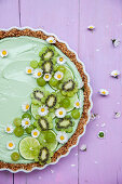 Green matcha torte with daisies (no bake cake)