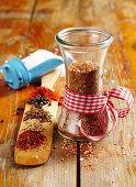 Homemade spice salt with mustard, cumin, paprika and chilli