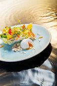 Natural cuisine: summer herb salad with egg, aioli and edible flowers