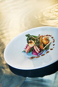 Natural cuisine: duck with palm kale, cabbage and porcini mushrooms