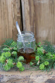 A jar of spruce honey