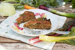 Kohlrabi and chard tart with herbs
