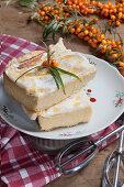 Sea buckthorn slices with meringue