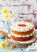 Classic Vanilla Sponge Cake filled with jam and cream