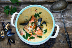 Chowder clam soup with smoked salmon