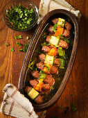 Cevapcici wrapped in vegetables
