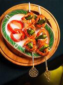 Prawn skewers with peppers
