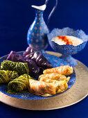 Three different cabbage wraps