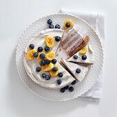 Banana and blueberry ice cream cake
