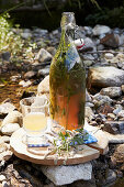 Homemade wild herb lemonade in a glass and a bottle