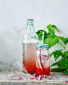 Rhubarb and rose drink
