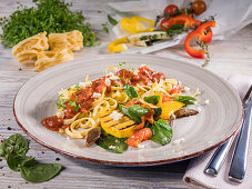 Tagliatelle with grilled vegetables, parmesan and cherry tomato sauce