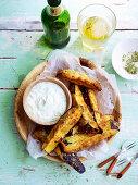 Eggplant Fritters with Garlic Yoghurt