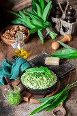 Wild garlic pesto risotto