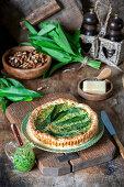 Wild garlic cheese pie