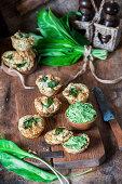 Wild garlic scones with wild garlic butter