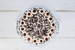 Whole Black Forest cake (top view)