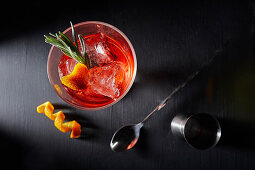 Negroni in a cocktail glass from above