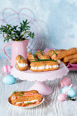 Salmon cream eclairs for Easter