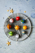 Galaxy cake pops for a Moon Landing party