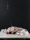 Meat thermometers in a knuckle of pork