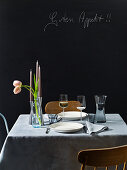 A table laid for two