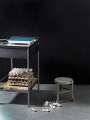Kitchen furniture with eggs and a stove plate