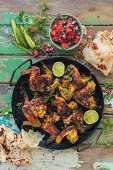 Chicken wings with watermelon salsa