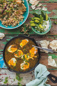 Curry eggs and raita