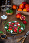 Blood orange with bocconcini and tomatoes