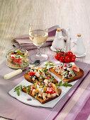 Chicken salad on crispy bread