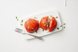 Tomato pepper filled with rice