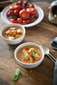 Gazpacho in small soup bowls
